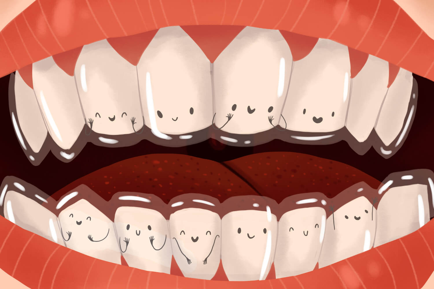 Cartoon image of teeth with Invisalign clear aligners orthodontics in Weatherford, TX